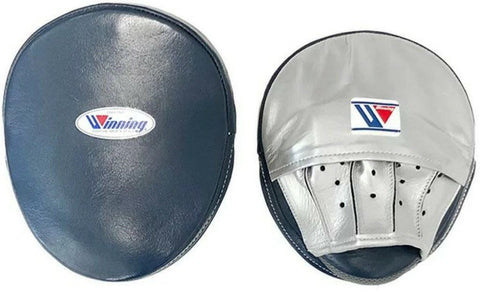 Winning Oval Curved Punch Mitts - Navy · Silver
