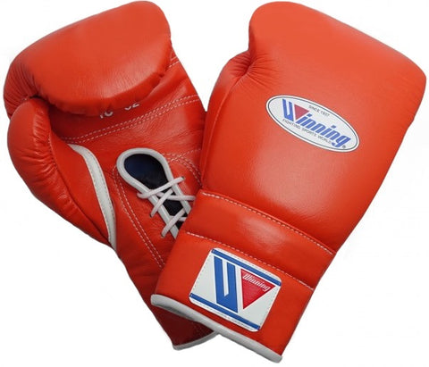 Winning Lace-up Boxing Gloves - Orange