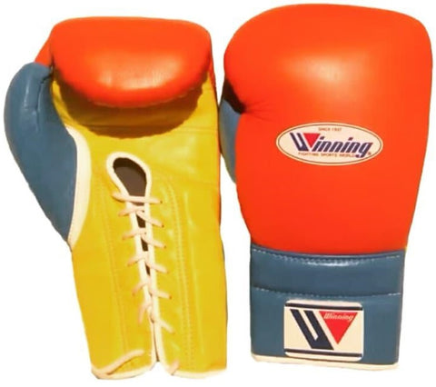 Winning Lace-up Boxing Gloves - Orange · Yellow · Sky Blue - WJapan Store
