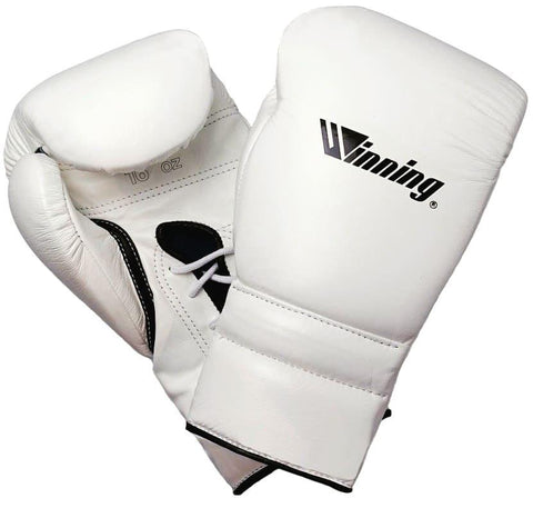 Winning Lace-up Boxing Gloves - Special Logo - White · Black - WJapan Store
