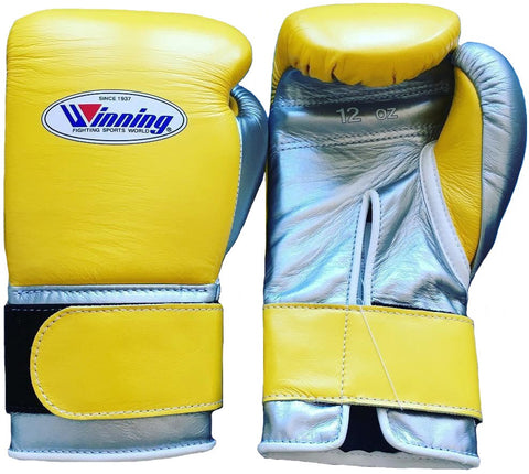 Winning Velcro Boxing Gloves - Yellow · Silver - WJapan Store