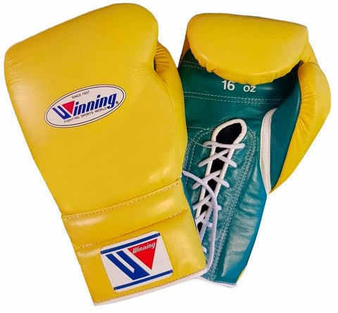 Winning Lace-up Boxing Gloves - Yellow · Green - WJapan Store