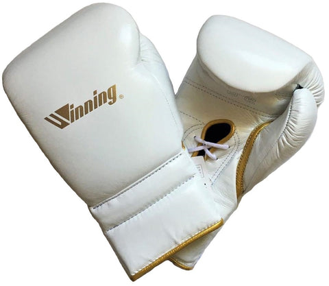 Winning Lace-up Boxing Gloves - Special Logo - White · Gold - WJapan Store