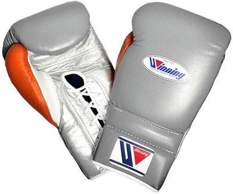 Winning Lace-up Boxing Gloves - Gray · Silver · White · Orange - WJapan Store