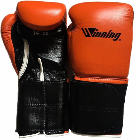 Winning Velcro Boxing Gloves - Wide Strap - Special Logo - Orange · Black - WJapan Store