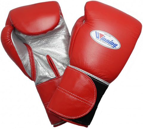Winning Velcro Boxing Gloves - Wide Strap - Red · Silver - WJapan Store