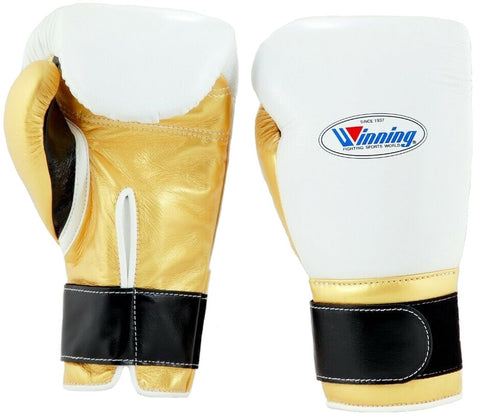 Winning Velcro Boxing Gloves - White · Gold · Black - WJapan Store