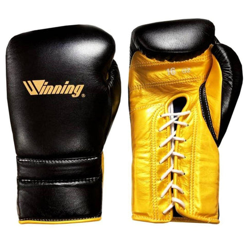 Winning Lace-up Boxing Gloves - Special Logo - Black · Gold - WJapan Store