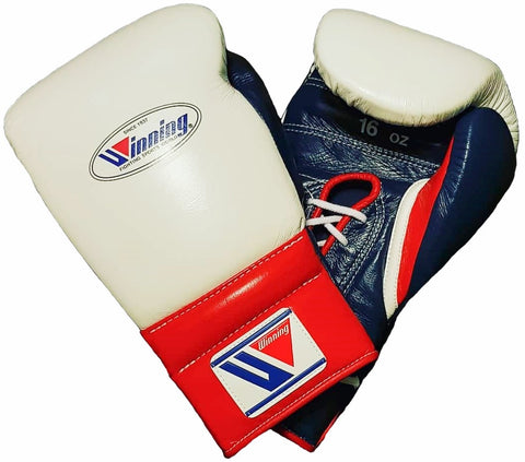 Winning Lace-up Boxing Gloves - White · Navy · Red