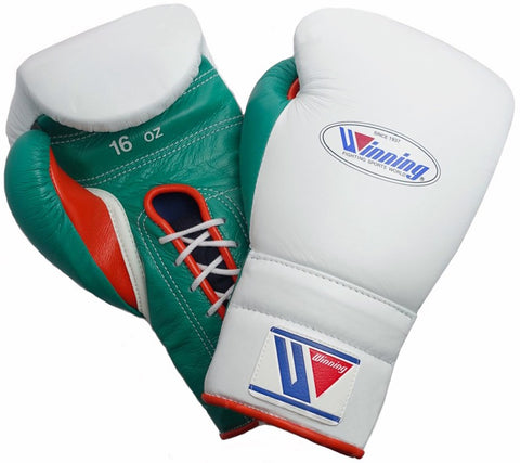 Winning White/Red/Green Lace-up Boxing Gloves - WJapan Store