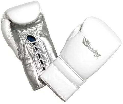 Winning Lace-up Boxing Gloves - Special Logo - White · Silver
