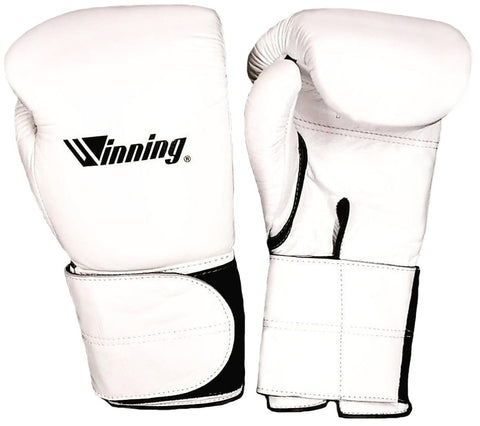Winning Velcro Boxing Gloves - Wide Strap - Special Logo - White · Black