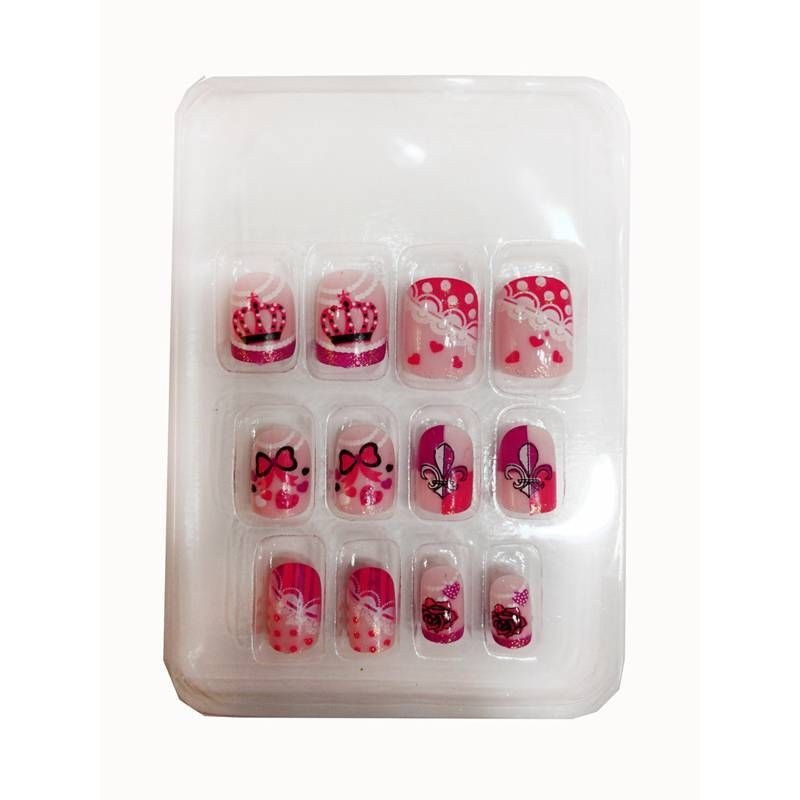 12 pieces Crown 3D Fashion Cute Style Artificial Nail Tips For Kids ...