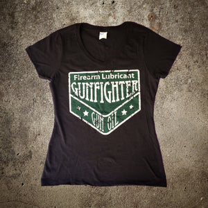 Original Ladies Cut Gunfighter Gun Oil Distressed Logo Tee