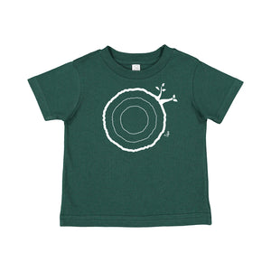 Open image in slideshow, 2nd Birthday Tshirt Countable Tree Rings Forest Green