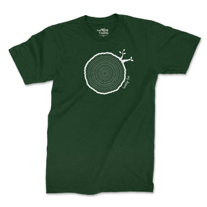 Open image in slideshow, 25th Birthday Tshirt Countable Tree Rings Forest Green