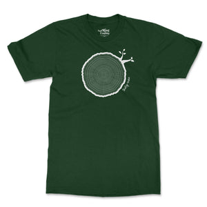 Open image in slideshow, 39th Birthday Tshirt Countable Tree Rings Forest Green