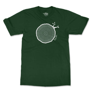 Open image in slideshow, 53rd Birthday Tshirt Countable Tree Rings Forest Green