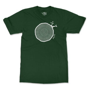 Open image in slideshow, 64th Birthday Tshirt Countable Tree Rings Forest Green