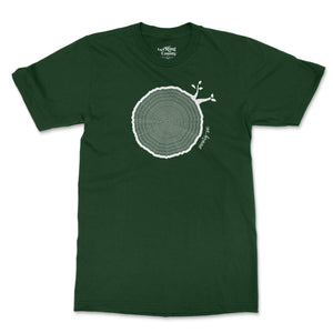 Open image in slideshow, 76th Birthday Tshirt Countable Tree Rings Forest Green