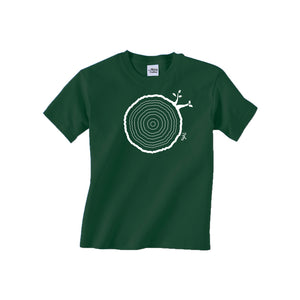 Open image in slideshow, 8th Birthday Tshirt Countable Tree Rings Forest Green
