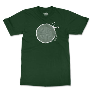 Open image in slideshow, 87th Birthday Tshirt Countable Tree Rings Forest Green