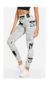 Black And White Highstreet Newspaper Letter Print Leggings