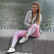 Honeycomb Women Leggings Pink with White Digital Print