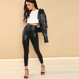 Lady Black Coated Leggings