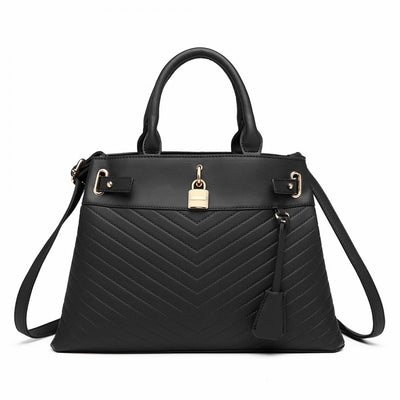 Black Padlock Chevron Leather Look Shoulder Bag - Troublemaker.gr