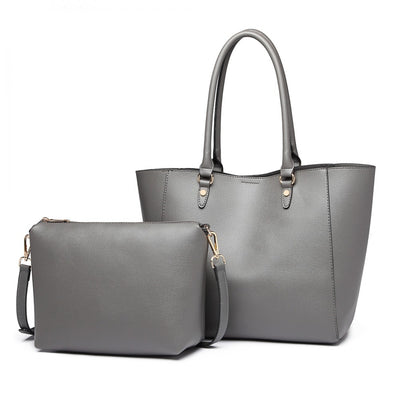 Grey Tote and Shoulder Bag (2 Pieces) - Troublemaker.gr