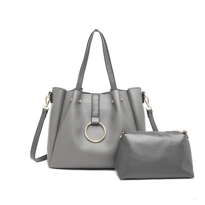 Grey Soft Leather Shoulder Bag (2 τεμάχια) - Troublemaker.gr