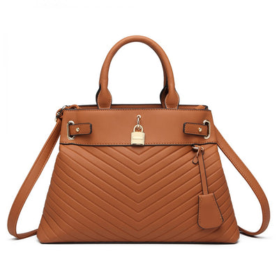 Brown Padlock Chevron Leather Look Shoulder Bag - Troublemaker.gr
