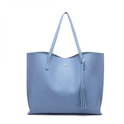 Blue Soft Leather Tote Bag - Troublemaker.gr