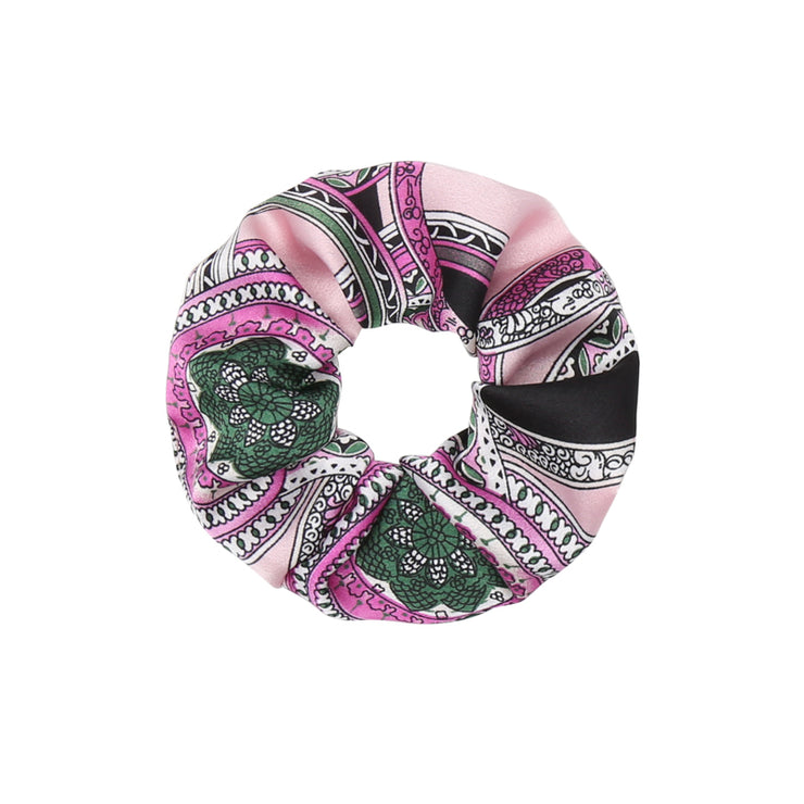 Italic Print Rose Satin Scrunchie - Troublemaker.gr
