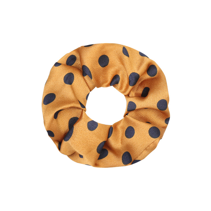 Summer Yellow Satin Dot Scrunchie - Troublemaker.gr