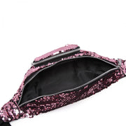 Pink Sequin Zip Front Waistbag Bum Bag - Troublemaker.gr