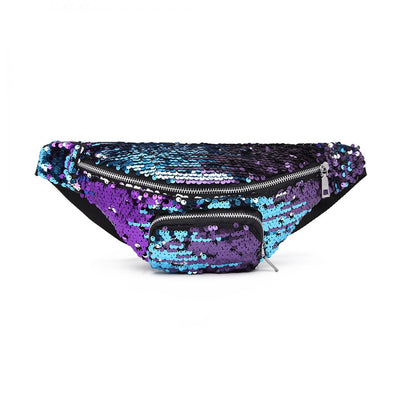Purple Sequin Zip Front Waistbag Bum Bag - Troublemaker.gr
