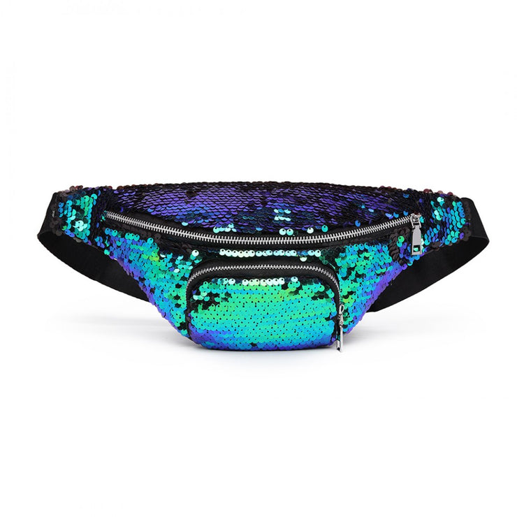 Green Sequin Zip Front Waistbag Bum Bag - Troublemaker.gr