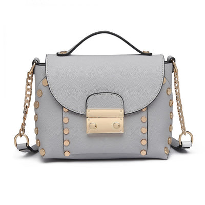 Grey Studded Cross Body Tote Bag - Troublemaker.gr