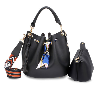 Black Drawstring Bucket Bag With Pouch - Troublemaker.gr