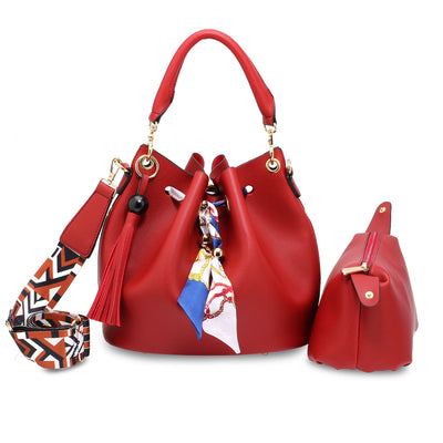 Red Drawstring Bucket Bag With Pouch - Troublemaker.gr