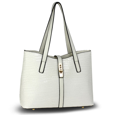 White Croc Print Tote Bag