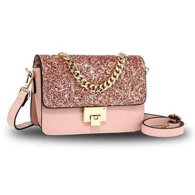Champagne Glitter Flap Cross Body Bag - Troublemaker.gr