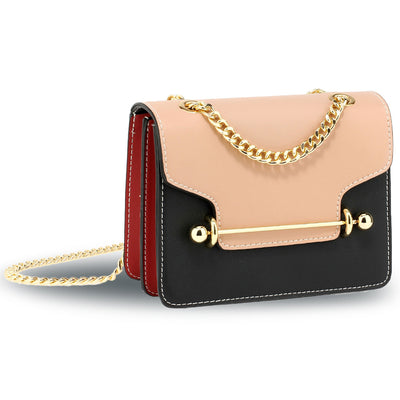 Nude / Black / Red Flap Style Cross Body Bag - Troublemaker.gr
