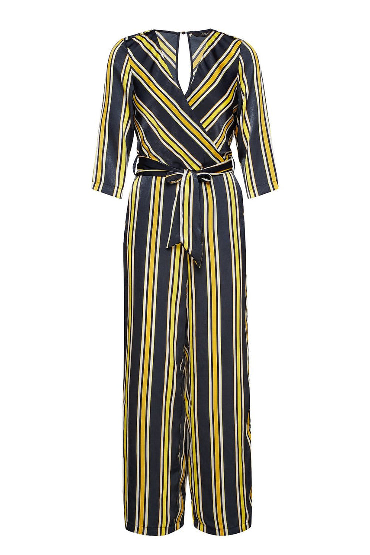 Only Yellow Striped 3/4 Jumpsuit - Troublemaker.gr