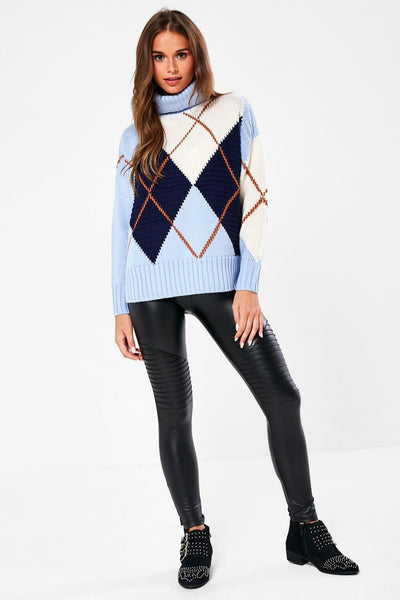 Only Baby Blue Harlequin Pullover Knit - Troublemaker.gr