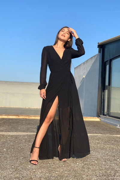 Glamorous Black Maxi Dress - Troublemaker.gr