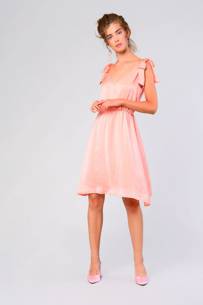 Glamorous Peach Satin Dress - Troublemaker.gr