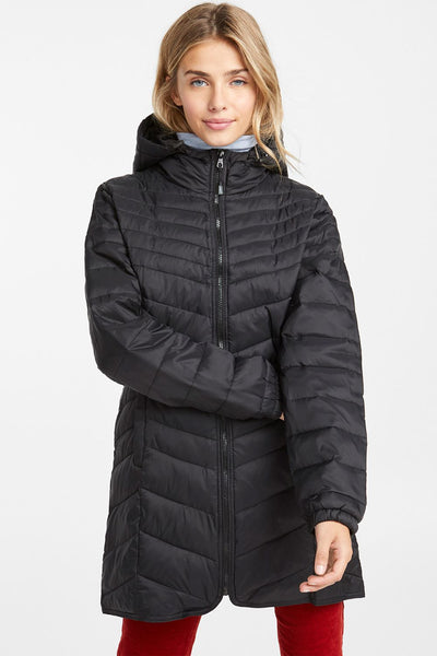 Only Black Quilted Nylon Coat